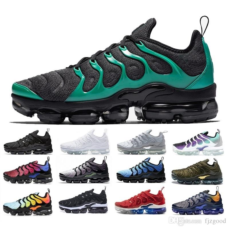 best loved 40e1f a12ed FUNNY New TN Plus Running Shoes Classic Outdoor Run Shoes tn Black White  Sport Shock Sneakers Mens requin Olive Silver In Metallic