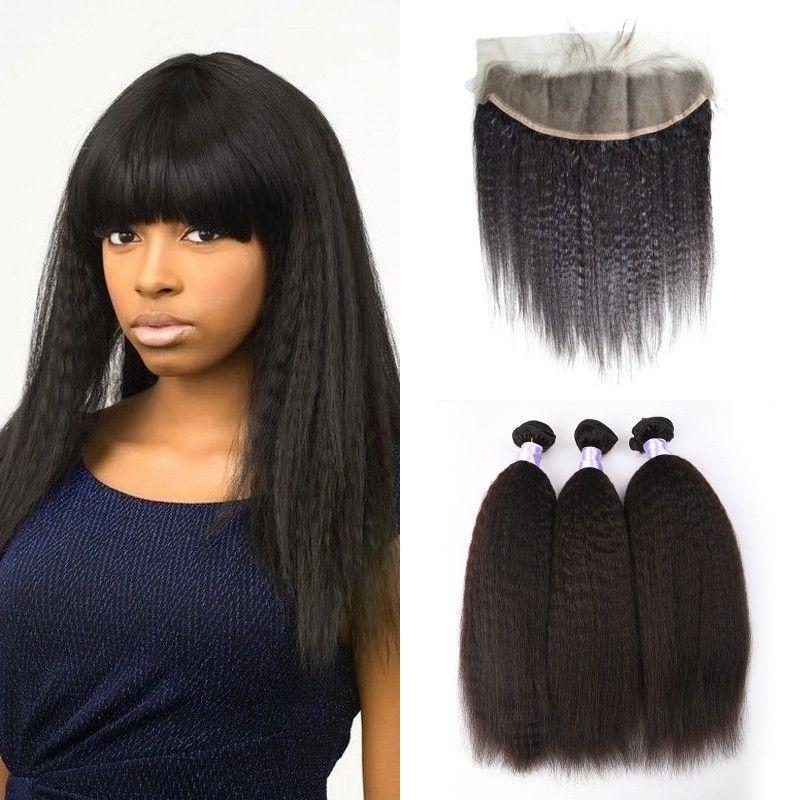 Haarverlängerung Und Perücken Funmi 3 Bundles Mongolischen Afro Verworrenes Lockiges Haar Mit Verschluss 100% Reines Menschenhaar Bundles Mit Spitze Schließung Für Haar Salon