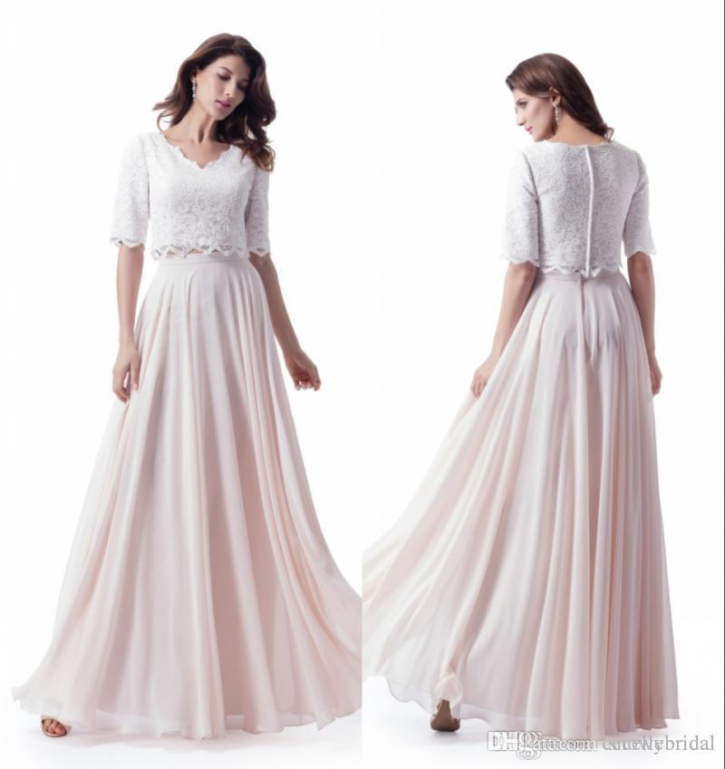 96d50f20b21a Long Modest Bridesmaid Dresses With Half Sleeves Lace Top Chiffon Skirt  Blushing Pink Two Pieces Wedding Party Dresses Discounted Short Lace  Bridesmaid ...