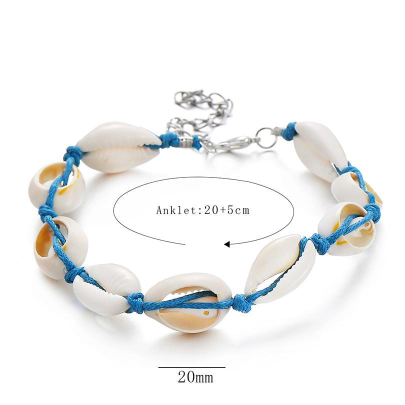 IYOE Vintage Bohemia Shell Starfish Beads Tobillo Pulsera Para Las Mujeres Playa Cadena Charm Pulseras Joyería Amistad