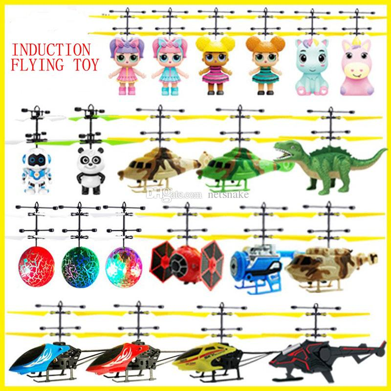 Hot sales induction flying toy flying fairy suspended luminous crystal ball iron man helicopter induction plane as children's toys