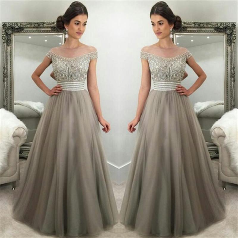 47995e3e4b053 Satın Al 2018 Gümüş Gri Tül Muhteşem Kristaller Gelinlik Modelleri A Hattı  Kapalı Omuzlar Uzun Abiye Giyim Örgün Ünlü Elbise, $126.99 | DHgate.Com'da