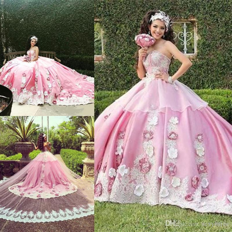 663bfa87ac Luxury Pink Ball Gown Quinceanera Dresses With Detachable Train Lace  Applique Hand Made Flowers Floral Formal Prom Party Gown Sweet 16 Dress  Orange ...