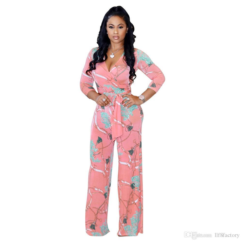 2019 sexy scollo a V con scollo a V irregolare personalità irregolare stampa cinghie di moda tuta (cintura compresa) 9144