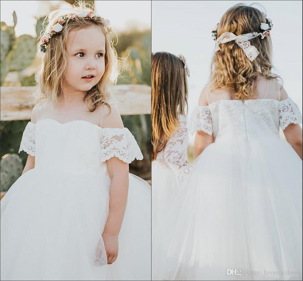 c80f141fa1f 2019 Off Shoulder Flower Girl Dresses For Wedding With Short Sleeve Cute  Lace Pricess Kid Girls Dress First Communion Dress Pageant Dresses Teal Flower  Girl ...