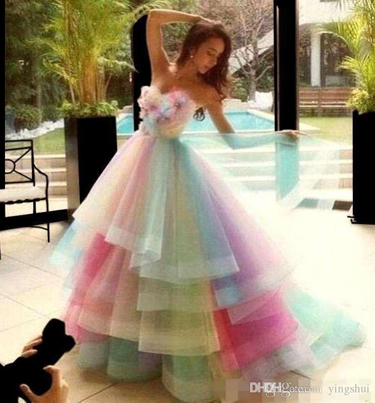 Rainbow Colorful Prom Dresses Sweetheart Layers Organza Handmade Flowers Graduation Dress Beads Pleats Princess Pageant Quinceanera Dress