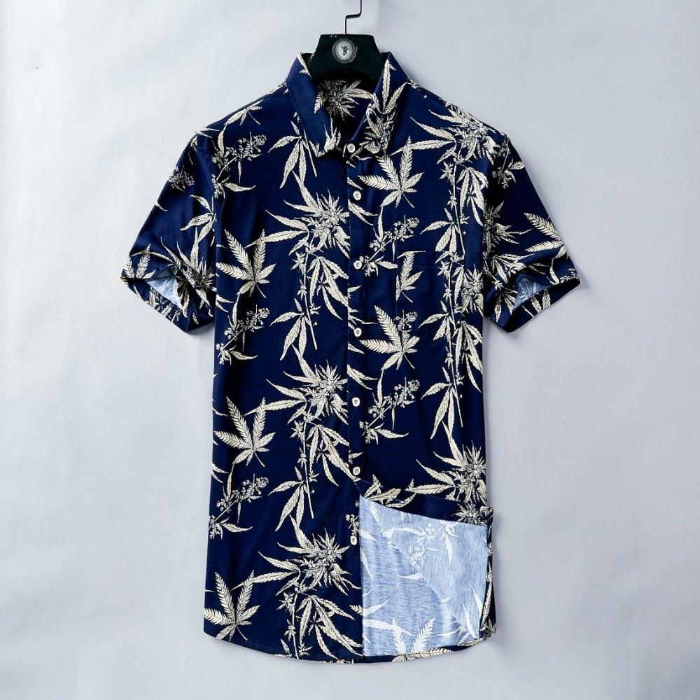 Men's Summer Shirt Short Sleeve Vintage Maple Leaf Print Dark Blue T-Shirt Holiday Casual Wind Fabric Excellent Skin Friendly