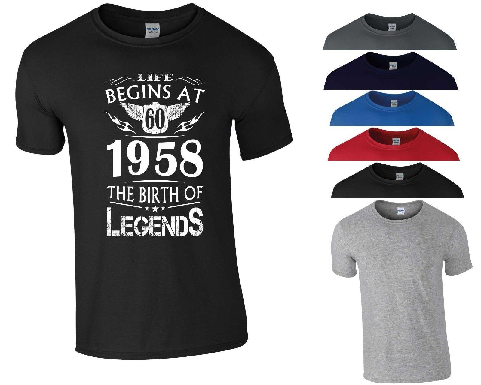 d83a9c3f5 Life Begins At 60 T Shirt Birth Of Legends Sixty 60 Birthday Gift Men Tee  Top 2018 Funny Tee Cute T Shirts Man 100% Cotton Cool Tees Design T Shirt  Of The ...