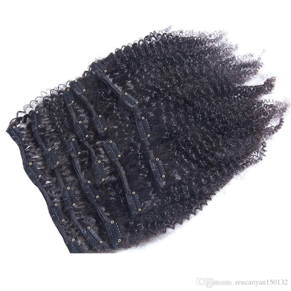 7pcs/set 120g virgin mongolian Afro Kinky Curly Clip In Human Hair Extensions 120g clips ins /on remy hair extensions natural black hair
