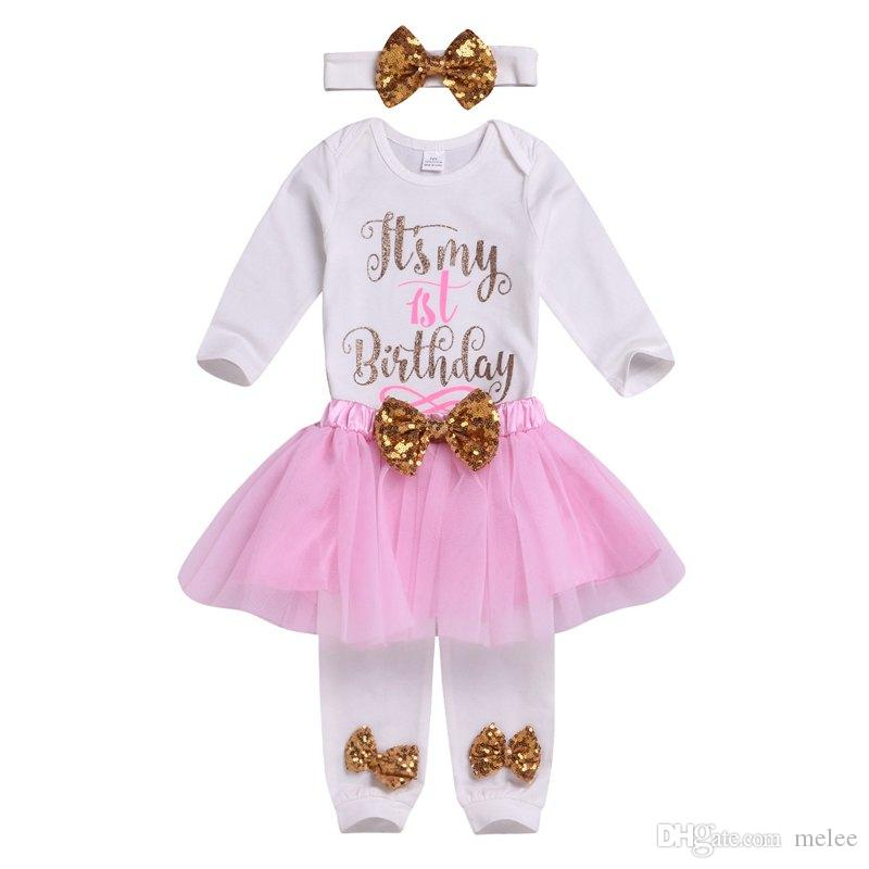 2019 It S My 1st Birthday Girls Clothes Little Girls Outfits Clothing Sets  Baby Girls Sequin Bows Headbands Letter Rompers Tulle Tutus Skirts From  Melee c5a2d55bc76c