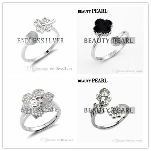 HOPEARL Jewelry Ring Flower or Clover Leaf Design 925 Sterling Silver Pearl Semi Mount Ring DIY Settings