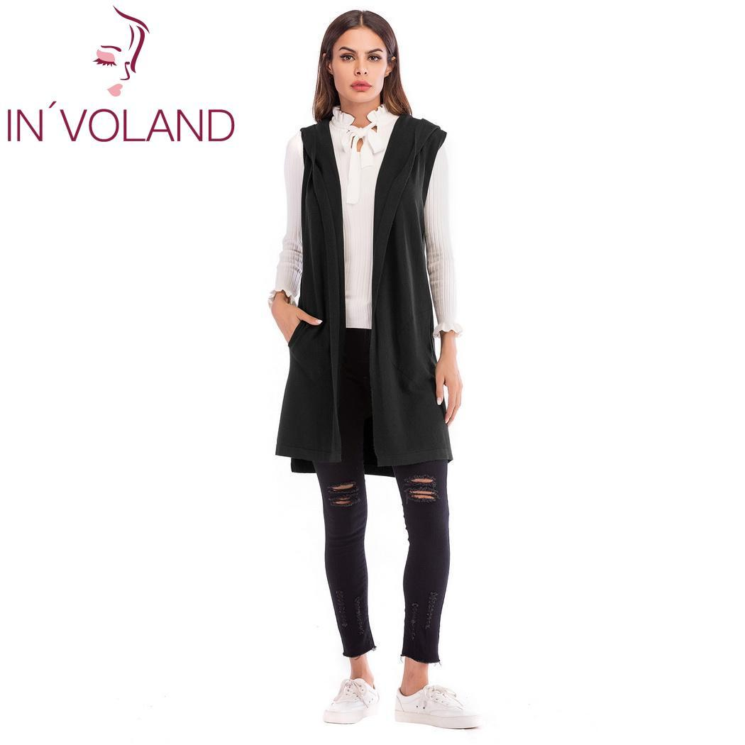Women Fashion Casual Solid Sleeveless Long Knit Sweater Cardigan Hooded Vest Spring Winter Autumn Gray Black Green