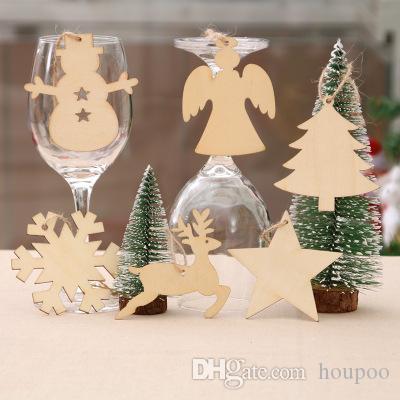 Bulk Lots 10pcs Set 10 Styles Xmas Wooden Pendant Christmas Ornament Wedding Party Decoration Home Decor Festival Favor Grafts