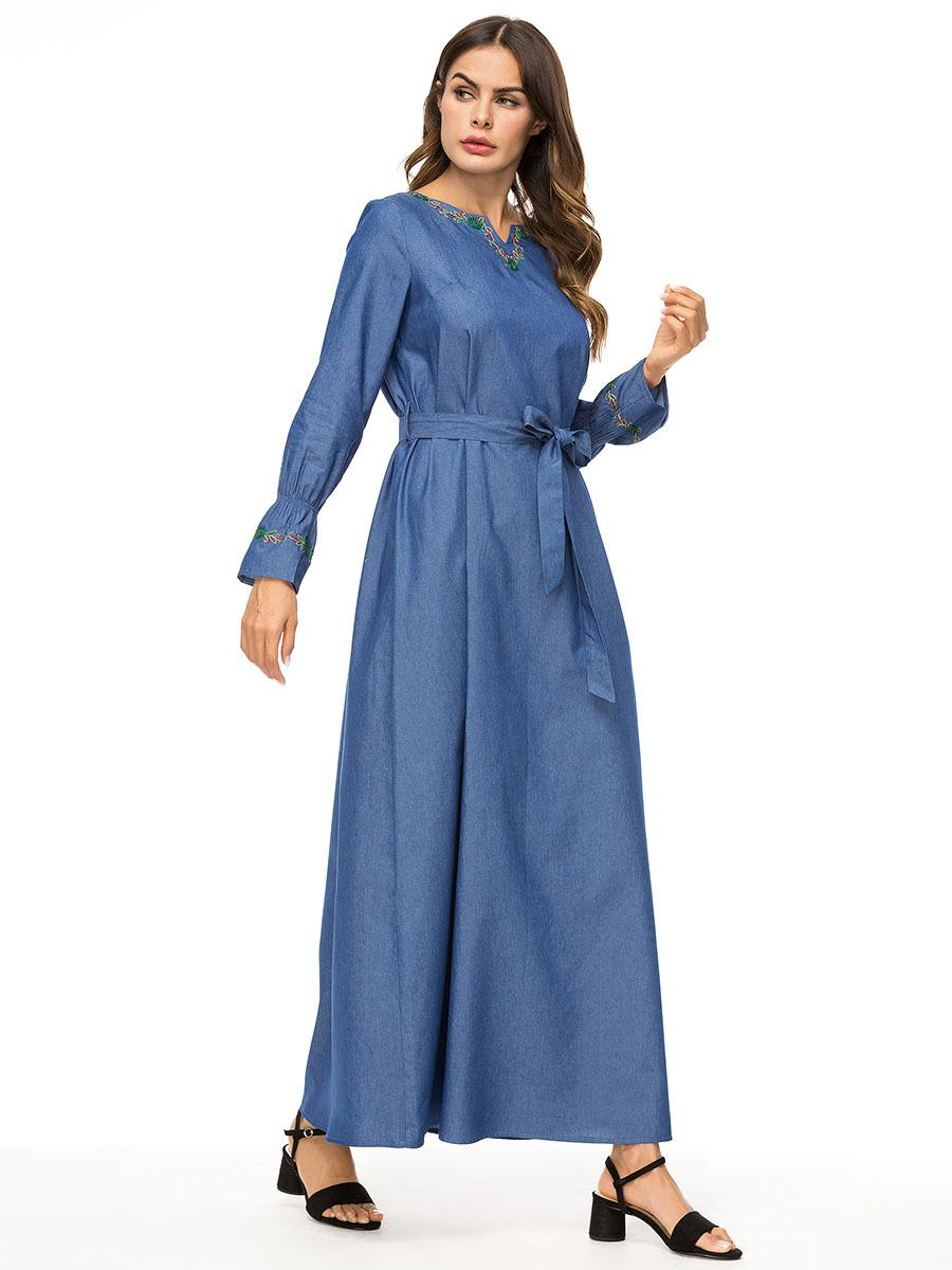 Women Summer Bell Sleeve Dresses Fashion Designer Loose Long Clothing Denim Embroidery Casual Robe Asymmetrical Spring