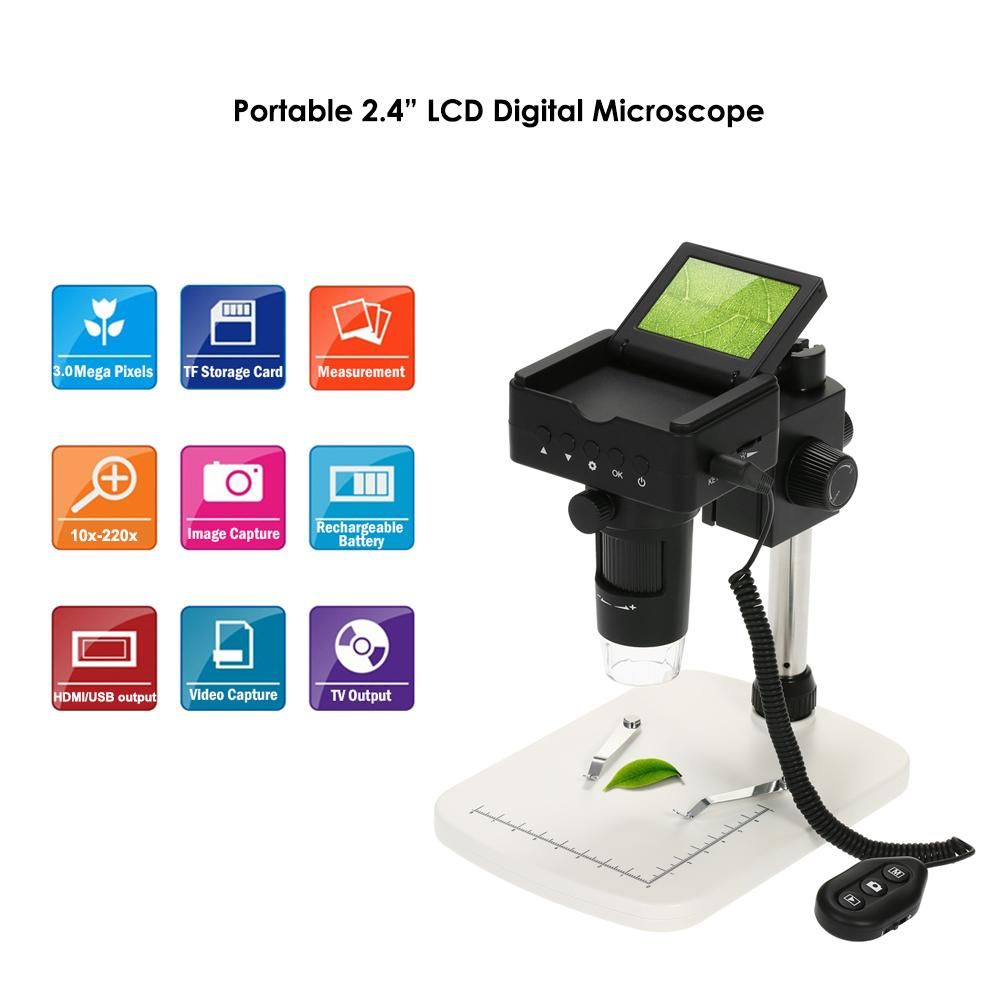"10X-220X Digital Microscope 2.4"" LCD 1080P 3.0MP LED Magnifier with Led Light Adjustable Stand Electronic Microscopio"