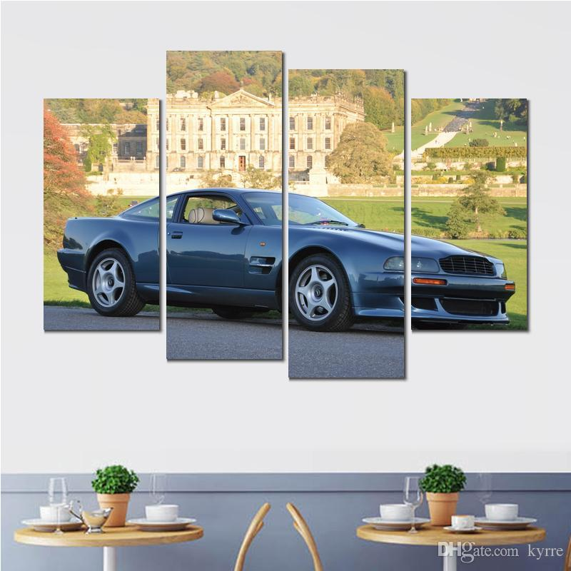 aston martin vantage blue cars canvas print arts pictures for dining room decor