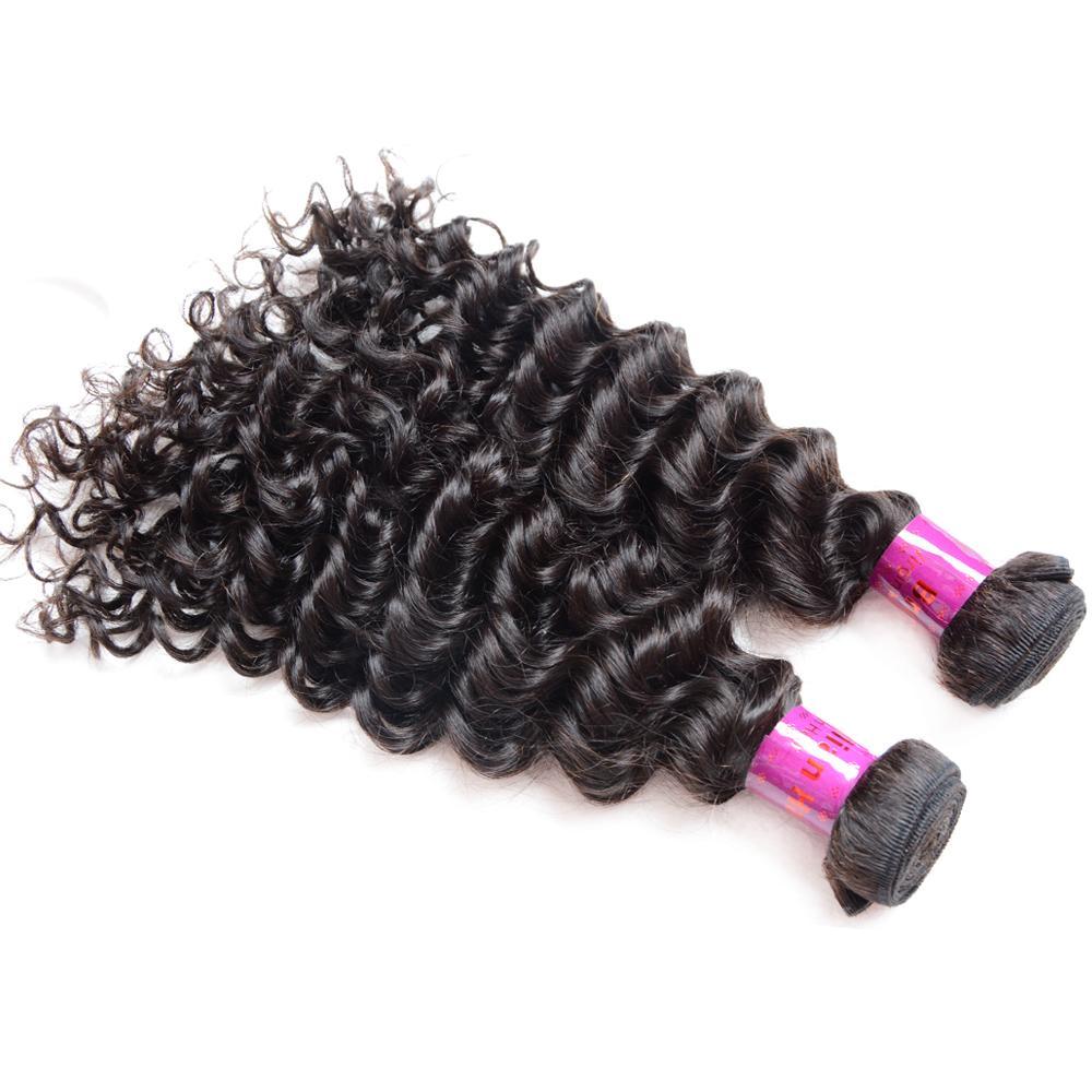 저렴한 인도 곱슬 머리 4 번들 말레이시아 깊은 웨이브 레미 페루 8A 버진 브라질 인간의 머리 제품 처리되지 않은는 8 삼십인치