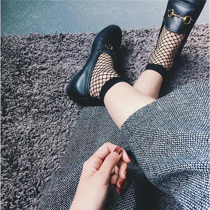 2019 Mulheres menina malha Sock Sexy Fishnet Joelho Lady Lace Fish Net meias curtas Verão Moda Casual New Hot