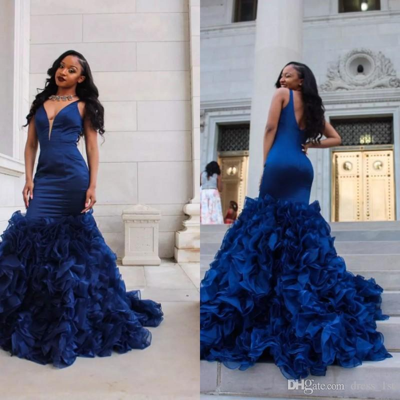 24746af2f3 Sexy 2019 New Style Royal Blue Mermaid Prom Dresses V Neck Cascading Ruffles  Fit And Flare Skirt Evening Gowns Party Dresses Prom Dress Sales Prom Dress  ...