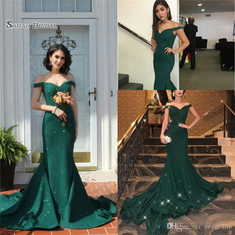 2019 Off Shoulder Sequins Mermaid Prom Dresses Sweep Sleeveless High End Quality Evening Party Dress Hot Sales