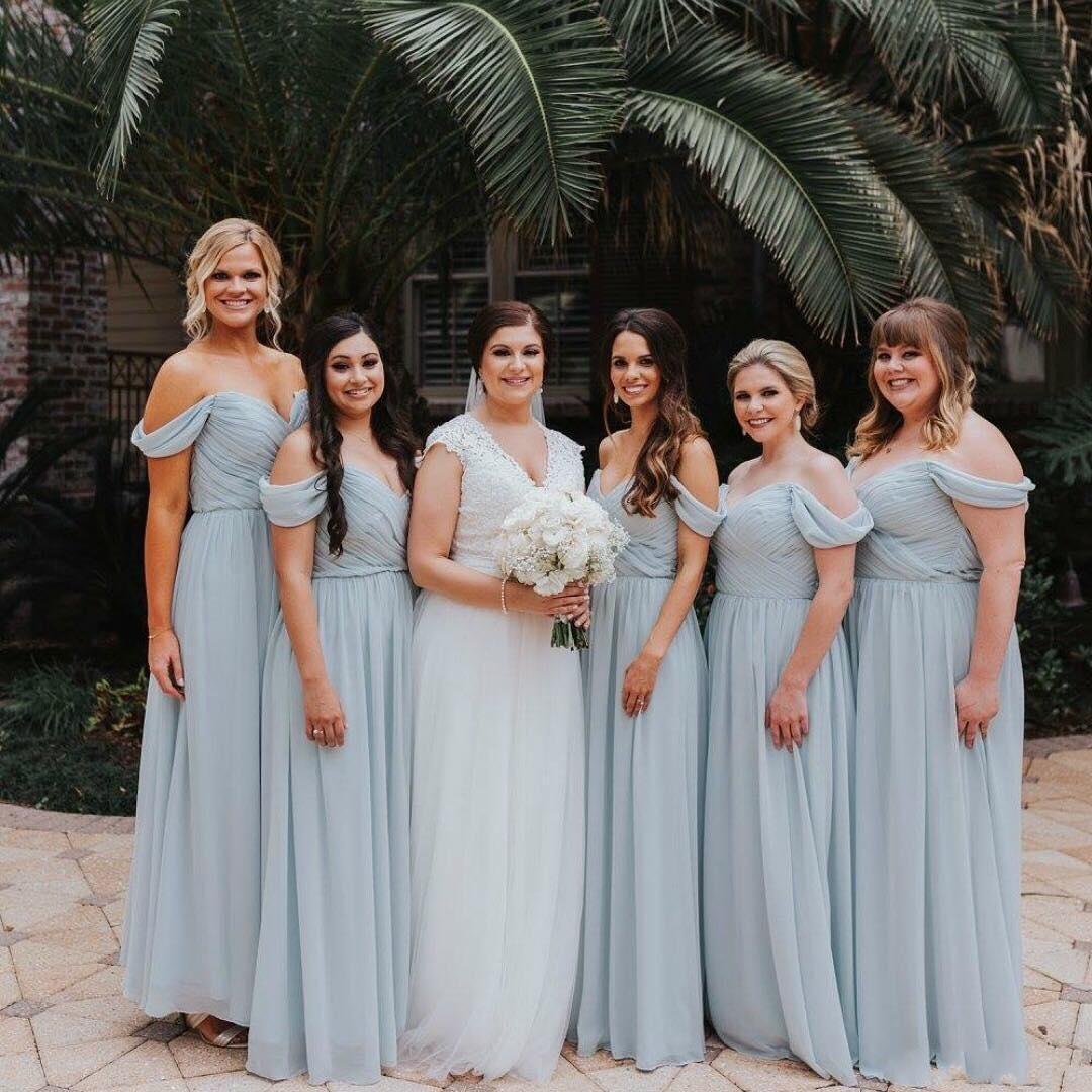 4d7668e086d9 Ice Blue Chiffon Bridesmaid Dresses 2018 Off Shoulder Wedding Party Gowns  Maid of Honor Dress robes de demoiselle d\'honneur