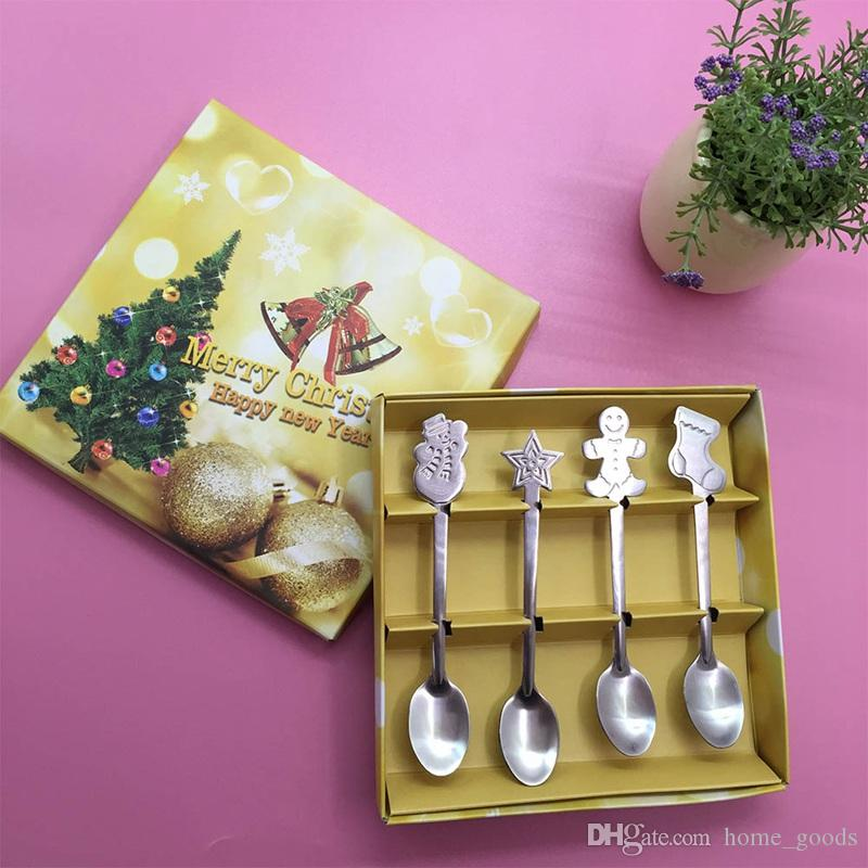 4pcs/Set Christmas Stainless Steel Spoon Kit Coffee Tea Spoon For Snowman Xmas Tree Home Kitchen Utensils Tableware Kids Spoon