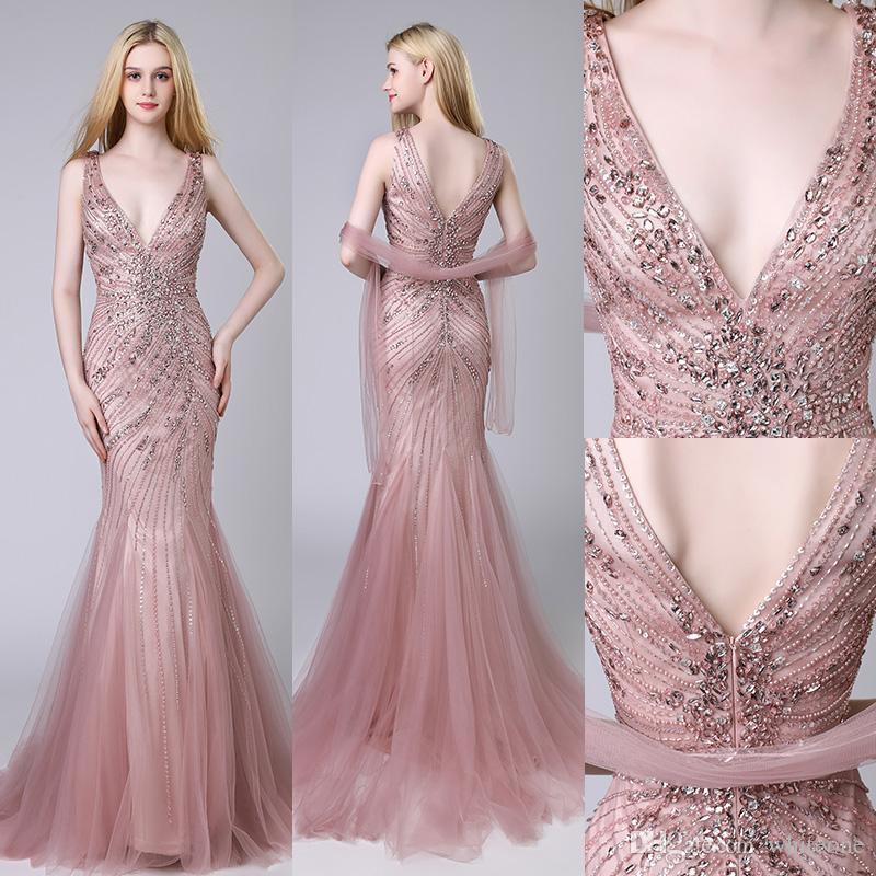 Sexy V-neck Evening Dress Burgundy Satin With Beading Evening Dresses Robe De Soiree 2019 Vestido De Festa Evening Dresses Long Weddings & Events