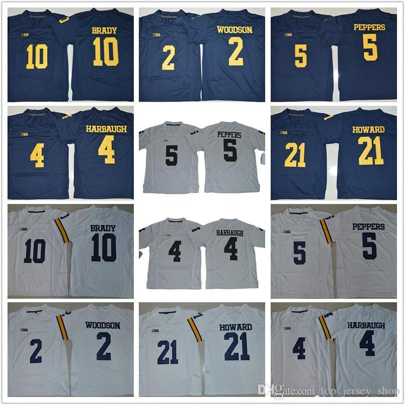 best service 8b4cd f7fdb Youth Michigan Wolverines Jerseys Kids Jim Harbaugh Tom Desmond Howard 21  Charles Woodson 2 Jabrill Peppers Brady College football jerseys