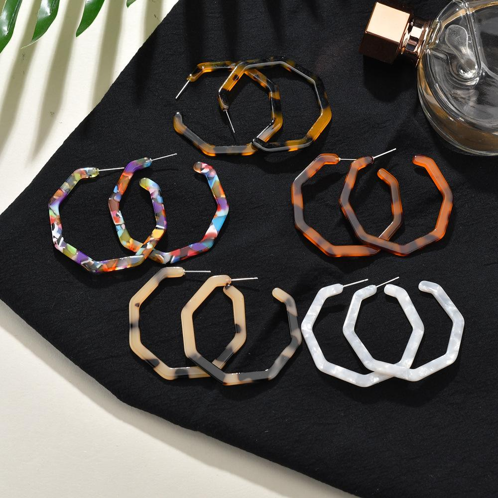 5 Colors Unique Design Fashion Hexagon C Style Earrings Lightweight Acrylic Geometry Earring Jewelry for Women