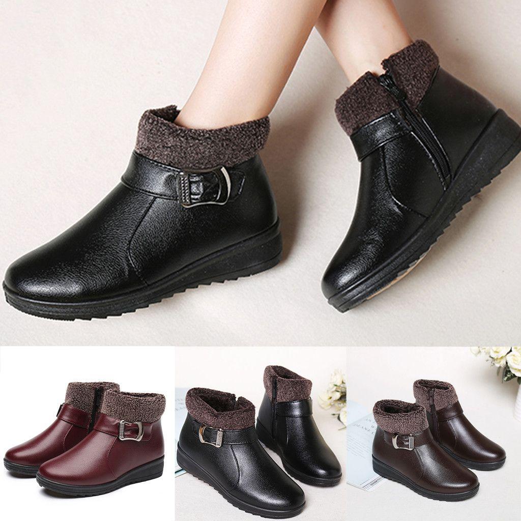 927e15fbc3e Acheter Xiniu Nouvelles Femmes Bottes Courtes Chaussures Zip En Cuir Bottes  Plat Avec Des Chaussures De Coton Boucle De Ceinture Dames  chaussures Femme  De ...