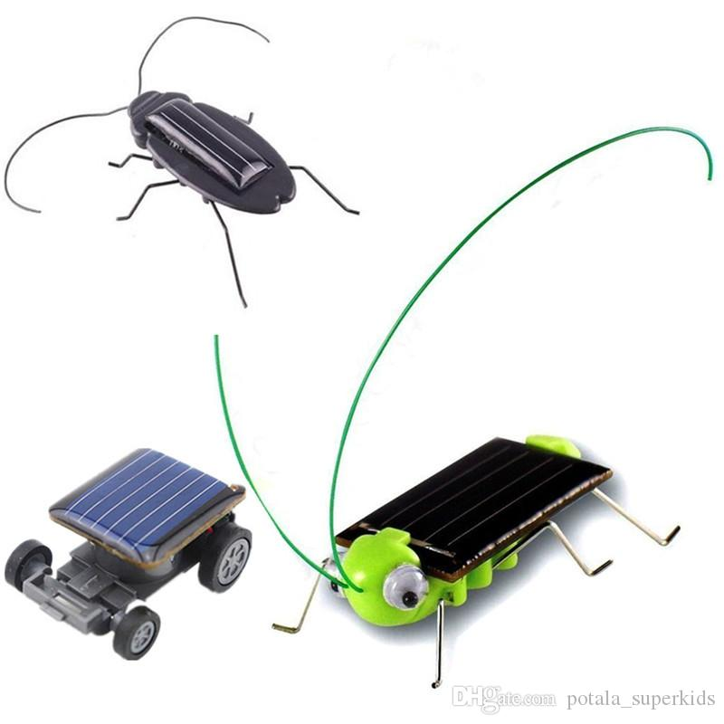 Mini Smallest Solar Powered Robot Racing Car Solar Toy Car Interactive Novelty Funny Toys Grasshopper Cockroach Insects For Boys Children