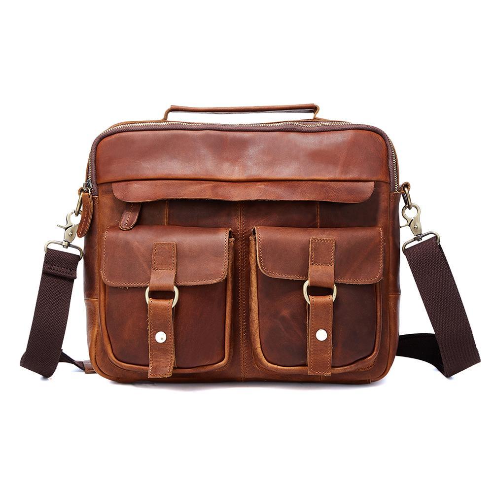 cc2730eb39c Vintage Male Messenger Bag Men s Genuine Leather Shoulder Travel Tote Bag  Computer Briefcase for Documents Satchel Laptop Briefcases Cheap Briefcases  ...