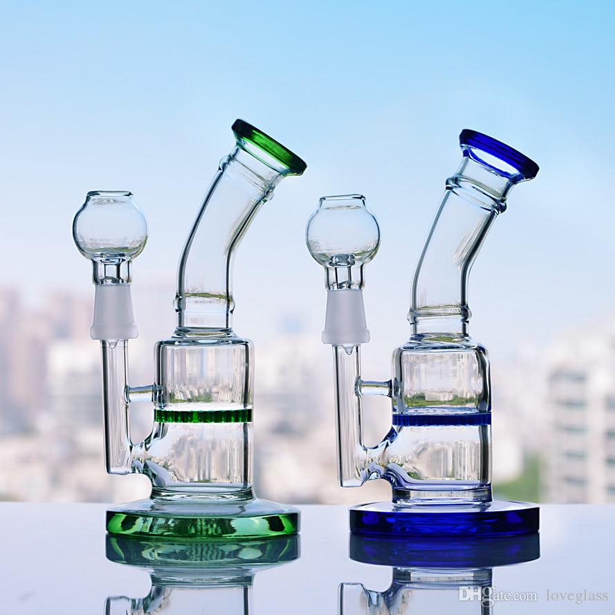 6 7 Inchs Mini Bong heady Dab Rigs Honeycomb Bongs Water Pipes Green  Percolator Water Bong With 14mm Bowl Hookahs