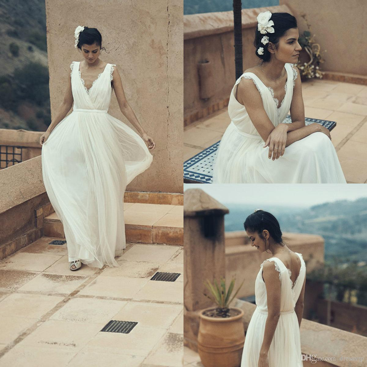 Discount Laure De Sagazan Vintage Wedding Dresses Deep V Neck Floor Length  Sash Tulle Lace Bridal Dress Custom Made Simple Country Robe De Mariée Plus  Size ... b5f1ee4faa63