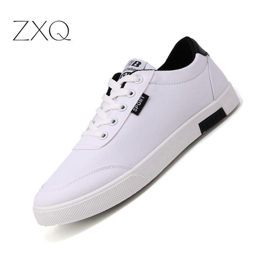 2ce43bb7b6ab 2019 Mens Casual Shoes Hot Sale Trainers For Men Lace Up Breathable Canvas Shoes  Fashion Spring Flats Student Male Sneakers Black Shoes Wholesale Shoes From  ...