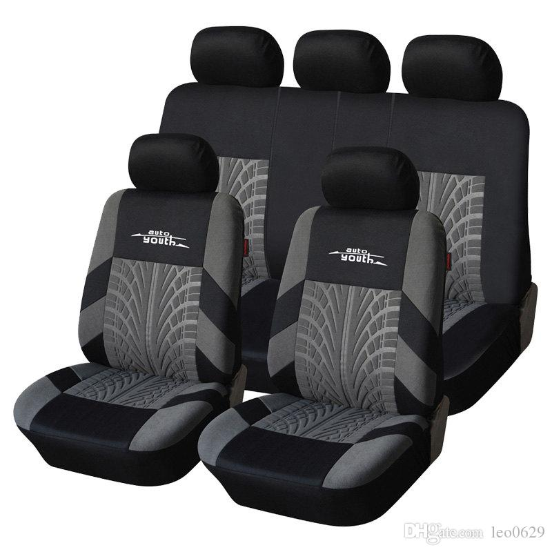zhihui brand embroidery car seat covers set universal fit most cars covers with tire track detail styling car seat protector