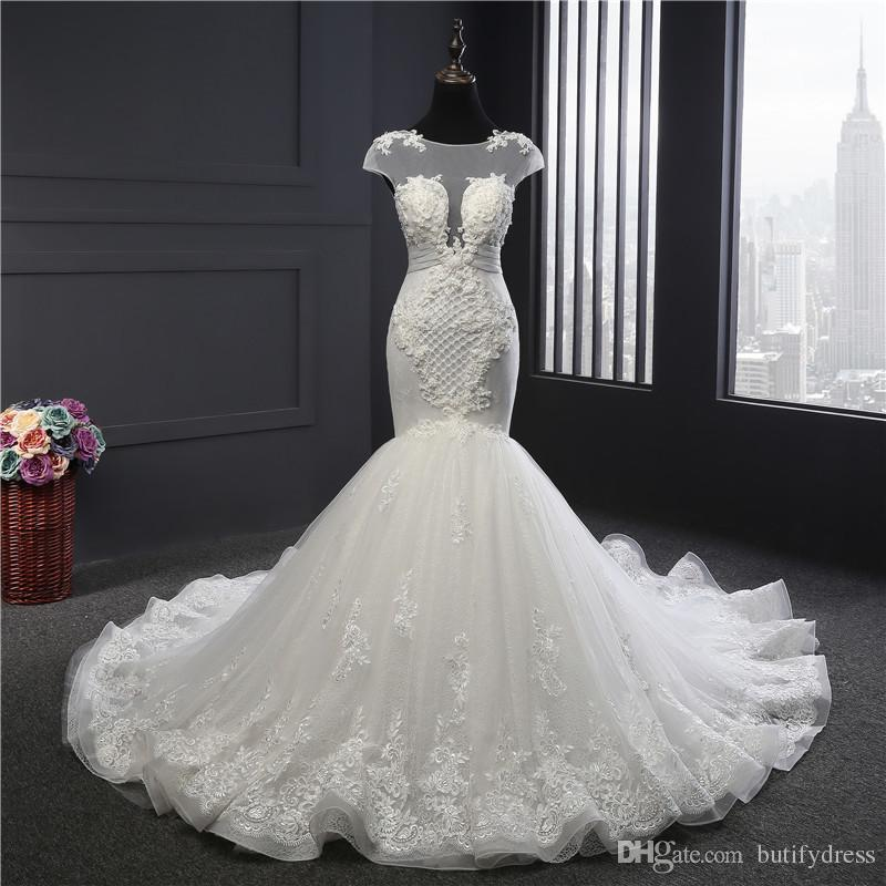 Mermaid Wedding Dresses White Brides Gown Elegant High Class Dress With Long Train Brides Dresses Chinese Factory Man Made