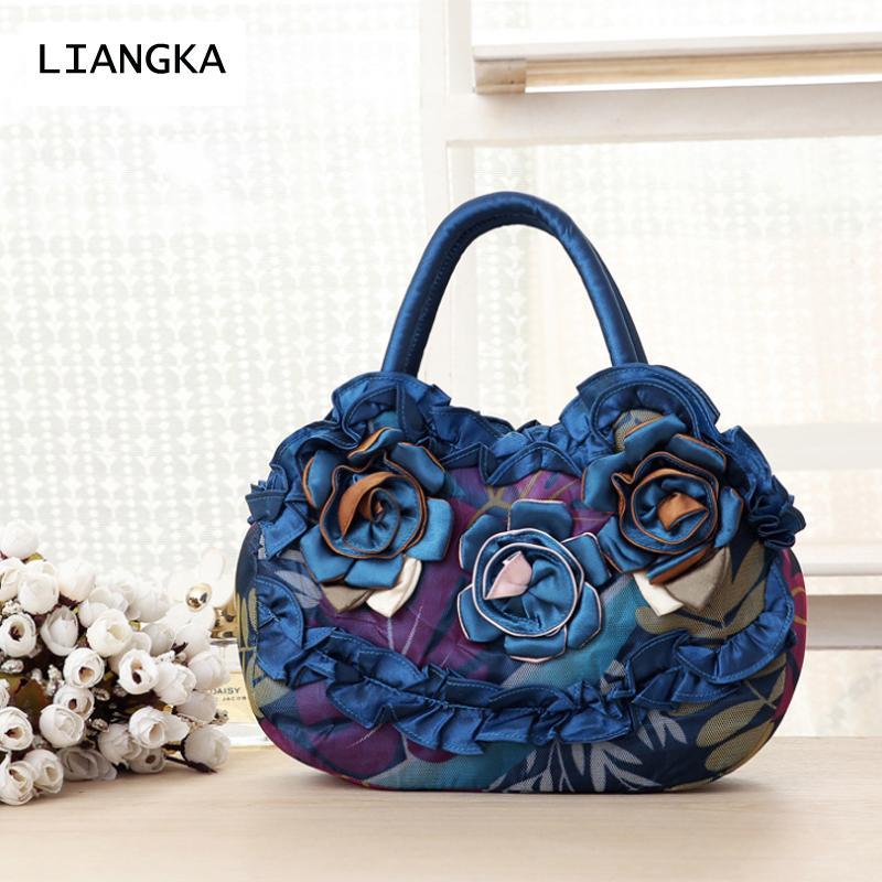7df91e98f3 LIANGKA Handmade Flower Rose Ruffle Lace Handbag Female Women Embroidery Clutch  Bag Wristbag Phone Bag Purse Black Handbag Black Clutch From Wearbag