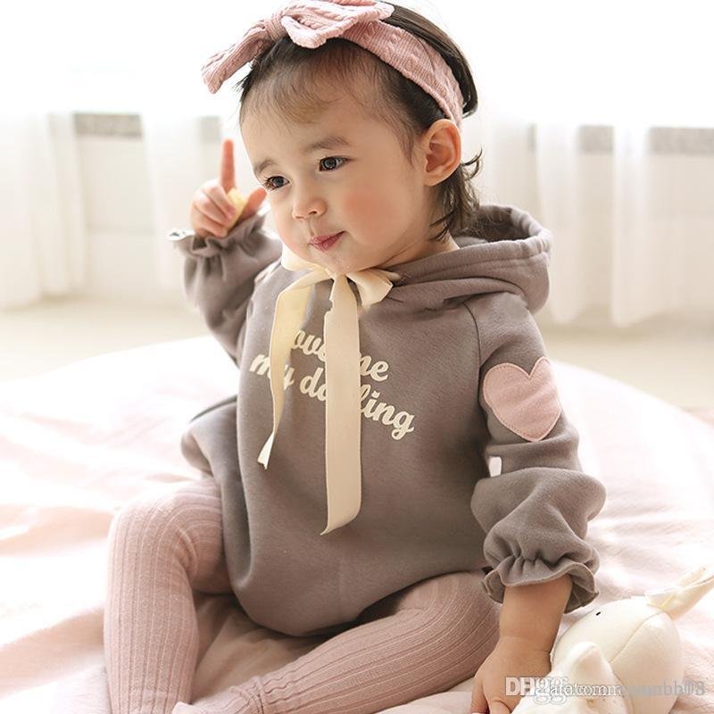 319899bc52 2019 Spring Infant Baby Girls Rompers Kids Bat-wing Sleeve Heart ...