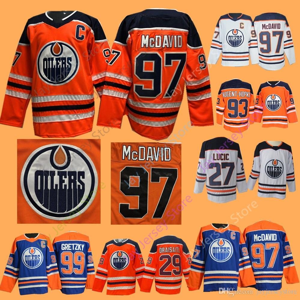 hot sales 3e750 b7e26 2019 Edmonton Oilers Jerseys Connor McDavid Wayne Gretzky Milan Lucic Leon  Draisaitl Cam Talbot Ryan Nugent-Hopkins Men Women Youth Kid