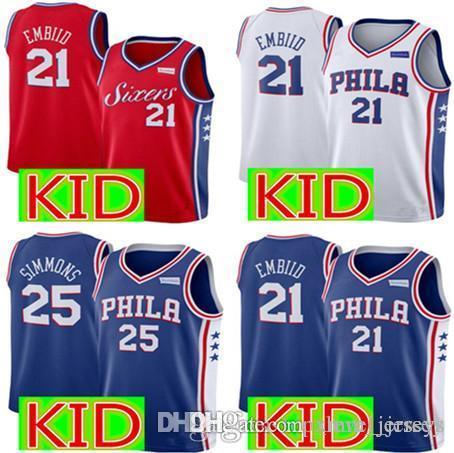 dc2c08403e1 Kids 76ers 21 Joel Embiid Jersey New Youth 25 Ben Simmons Basketball ...