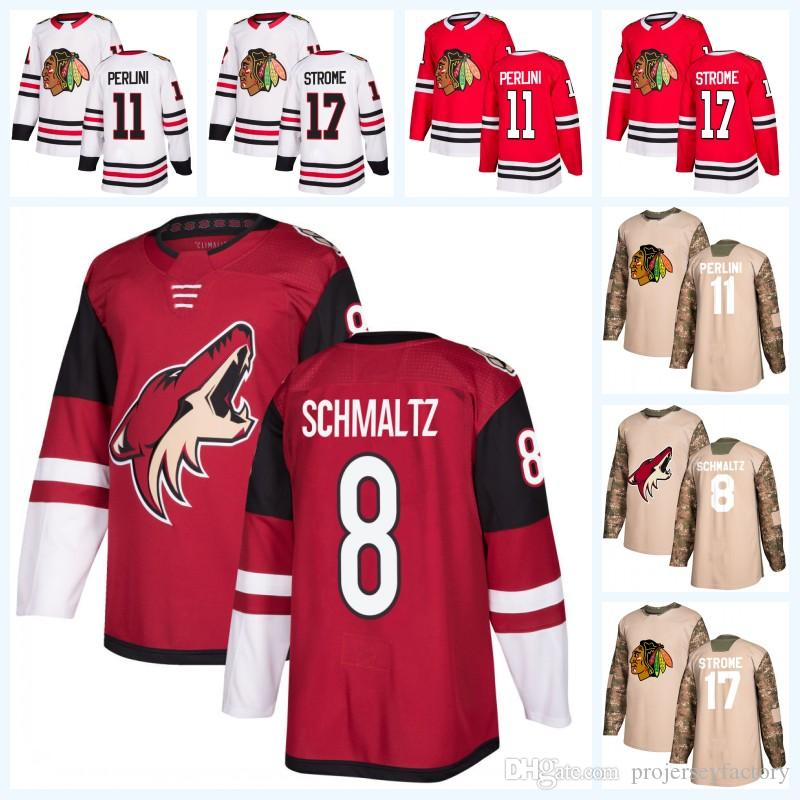 bc4537940 2019 Chicago Blackhawks 17 Dylan Strome 11 Brendan Perlini Arizona Coyotes 8  Nick Schmaltz 2018 Camo Veterans Day Jersey For Mens Womens Youth From ...