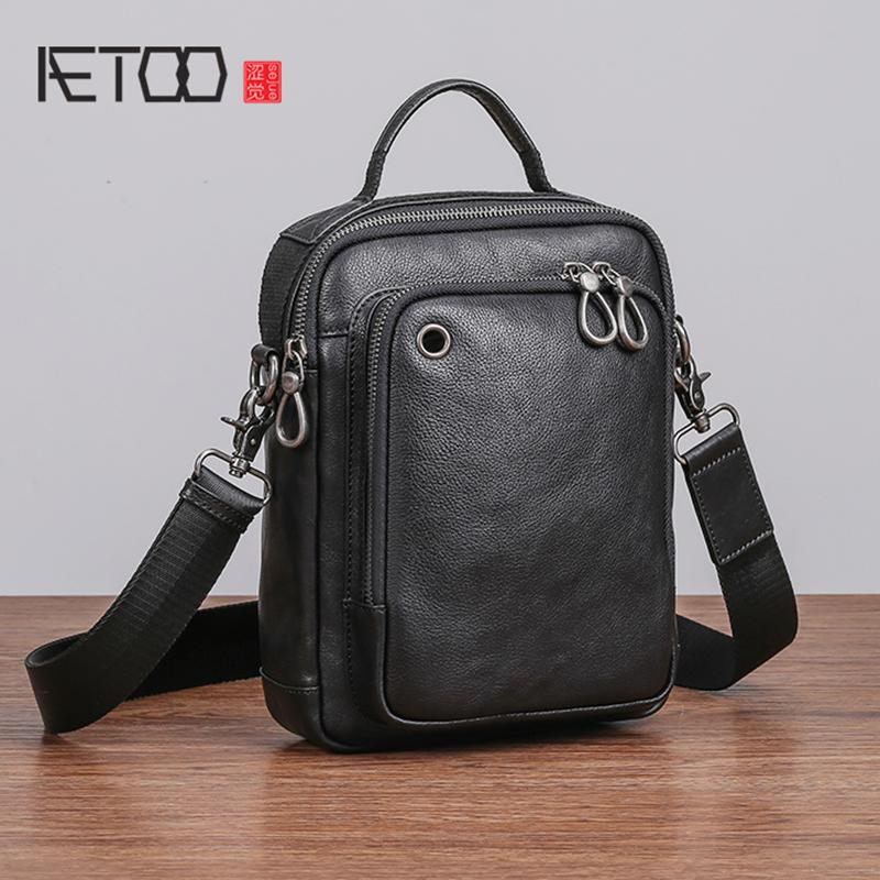 1a776004687f AETOO Men S Shoulder Bag Leather Casual Vertical Small Bag Male Trend Head  Layer Cowhide Oblique Cross Black Leather Handbags Small Purses From  Asomemistake ...