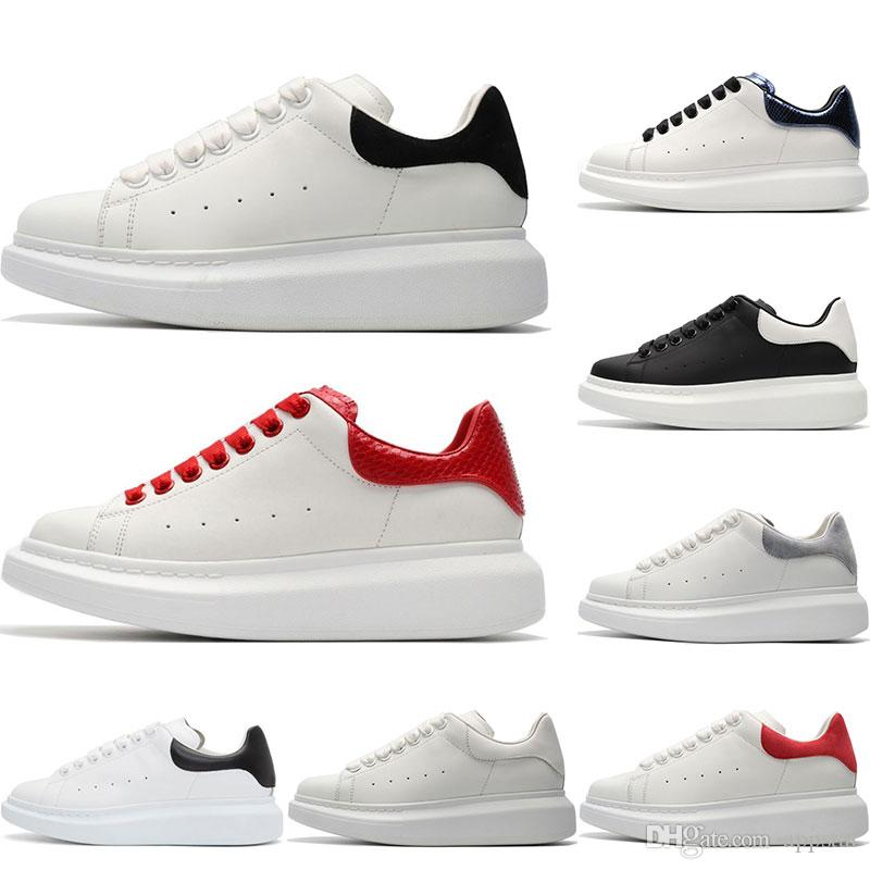 2019 Mens Designer shoes white leather casual for girl women men black gold red fashion comfortable flat sports sneakers size 35-44