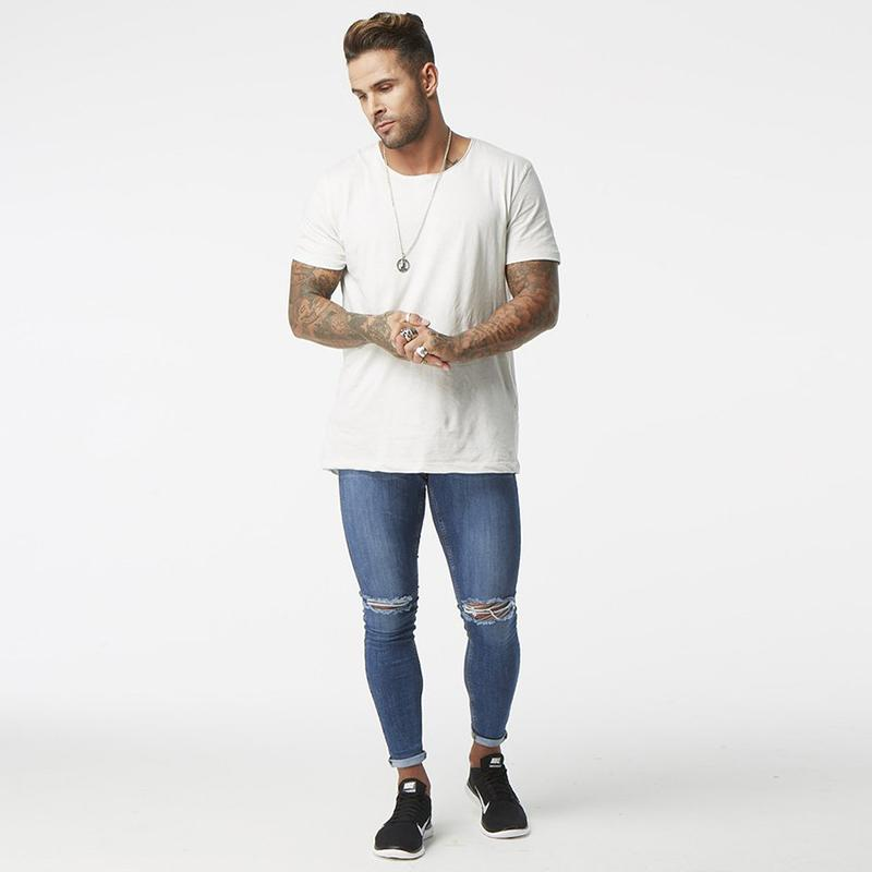 5204e1078164 2019 Blue Denim Knee Ripped Jeans Man Super Skinny Slim Fit Pant Distressed  Hip Hop Uk Market Dropping Shipping Supplier USA Zm06 From Dartcloth, ...