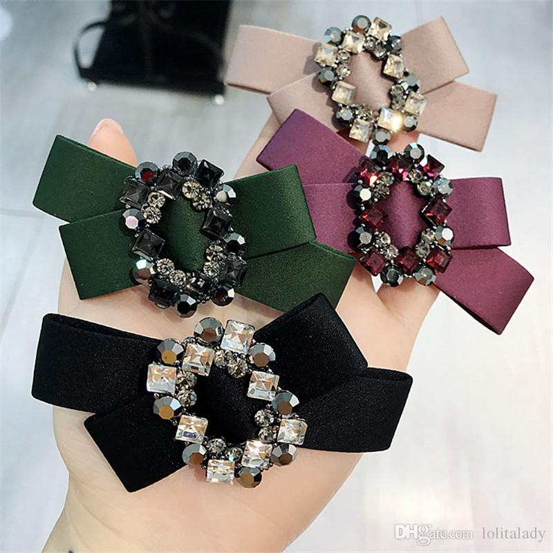 Luxury Czech Diamond Women Barrettes Fashion Fabric Bow Tie Hair Clips Christmas Party Lady Hair Clip Hair Jewelry