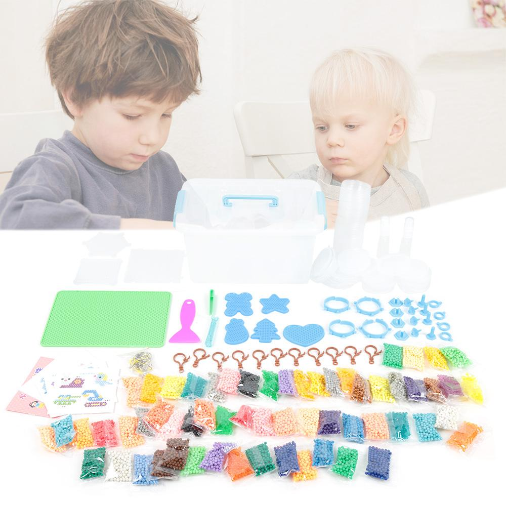 Water Sticky Beads with Pegboards Tweezer Ironing Paper for Kids Beginners Art Crafts Toys
