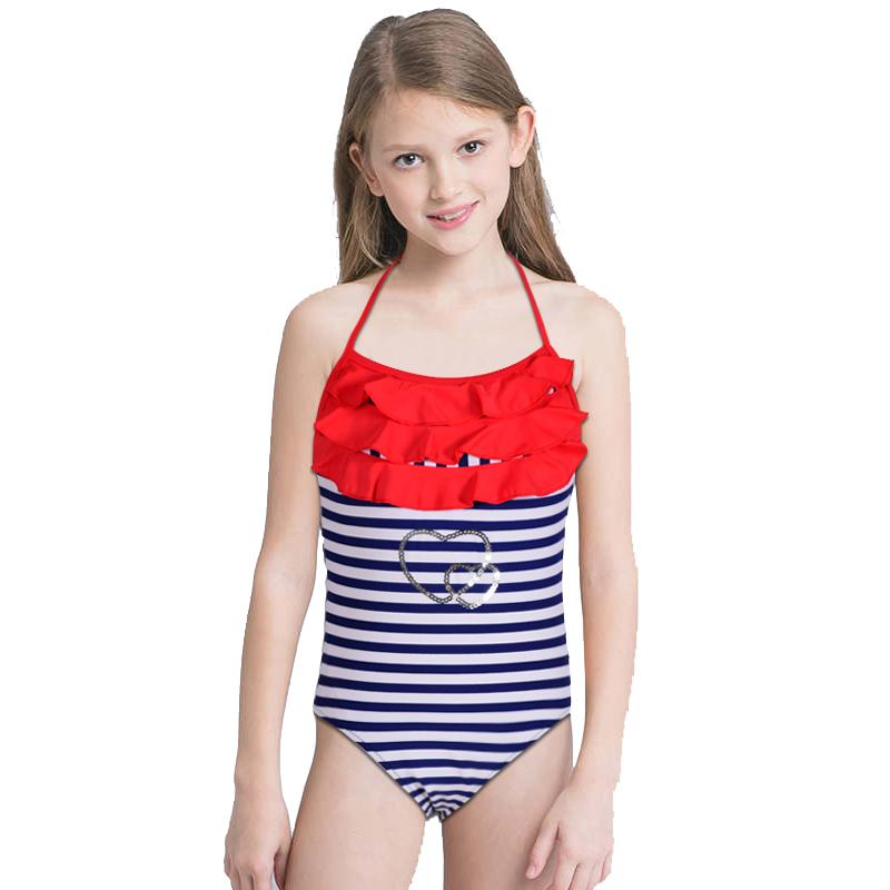 ba08e5825a3ca 2019 New Girl Navy Strip Swimsuit Kids One Piece Suit Ruffle Lotus Bathing  Suit Backless Swimwear 5 14 Years Old Children Beachwear From Luanxiaobo