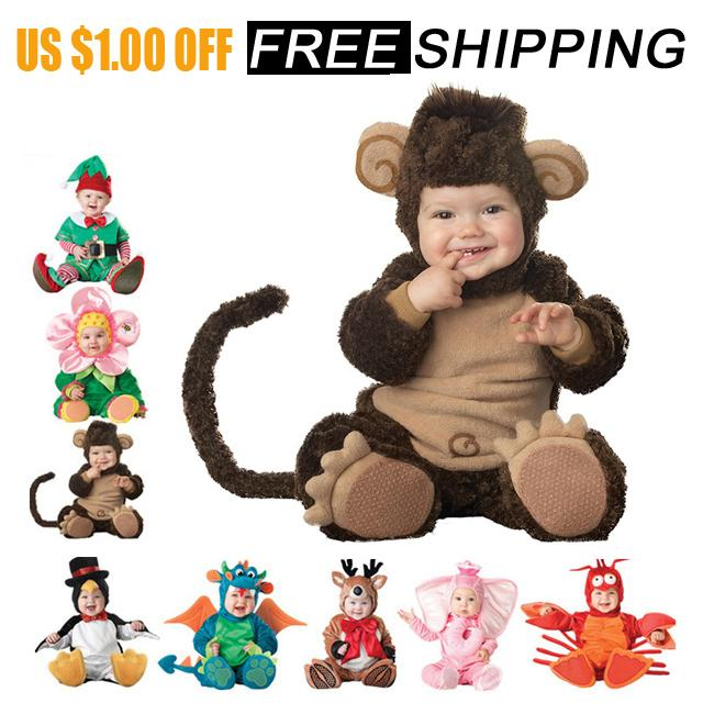 Baby Rompers Newborn Clothes Animal Pirate Dinosaur Penguin Santa Claus Carnival Christmas Elf Halloween Costume For Kids Q190520
