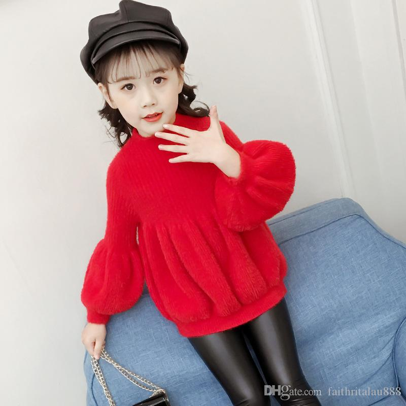 d051becbaea Fashion Children Clothes Knitted Pullover Girls Sweaters Princess Fashion  Knitwear Lantern Sleeve Autumn Winter Red Sweaters For Kids Girls Free  Knitting ...